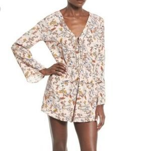 ASTR The Label Open Stitch Pink Floral Romper